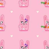 Vector funny cartoon bunnies St Valentine Day seamless pattern over pink background — Stock Vector