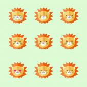Vector minimalistic flat lion emotions icon set — Stock Vector