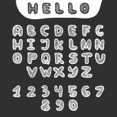 Vector hand drawn doodle font in sketch style — Stock Vector