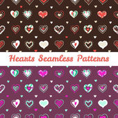 Vector bright hand drawn doodle hearts St Valentine Day seamless pattern — Stock Vector