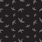 Vector black and white swallow birds seamless pattern — Stock Vector