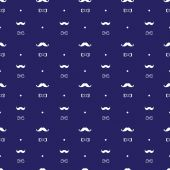 Vector hand drawn seamless pattern in doodle style, mustache and bow-tie — Stock Vector
