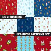 Big vector christmas seamless patterns set — Stock Vector