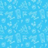 Vector doodle New Year seamless pattern in sketch style on blue — Stock Vector
