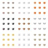 Vector minimalistic flat animal emoticons collection. Nine emoji heads. Cat, bunny, fox, dog, ferret, monkey, panda, tiger and bear heads with different emotions — Stockvektor