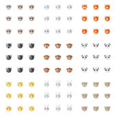 Vector minimalistic flat animal emoticons collection. Nine emoji heads. Cat, bunny, fox, dog, ferret, monkey, panda, tiger and bear heads with different emotions — Vector de stock