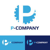Vector minimalistic blue P letter cog logotype — Stock Vector