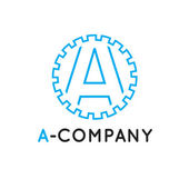 Vector minimalistic outline blue A letter logotype. Cogwheel logo — Stock Vector