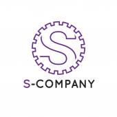 Vector minimalistic outline violet S letter logotype. Cogwheel logo — Stock Vector