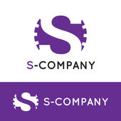 Vector minimalistic violet S letter logotype. Cogwheel logo — Stock Vector