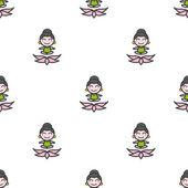 Caricature de vecteur modèle sans couture fille d'yoga de méditation — Vecteur