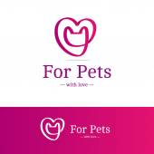 Vector pink ribbon sign. Cat head with heart logotype. Trendy logo in overlapping technique — Stock Vector