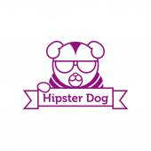 Vector hipster dog in sunglasses outline logotype — Stock Vector