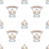 Vector baby boy with love Mommy and Daddy posters seamless pattern — Stock Vector