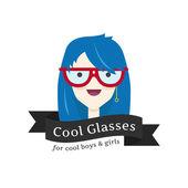 Vector rolig flicka i glasögon logotyp. Glasögon store logotype. — Stockvektor