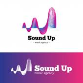 Vector abstract music logotype. Gradient blue and violet logo. — Stock Vector