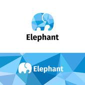 Vector polygonal minimalistic elephant logo. Low poly logotype — Stock Vector
