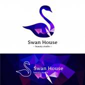 Vector low poly swan logo. Beautiful diamond style logotype with polygonal background — Stock Vector