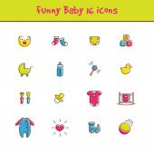 Vector outline colorful 16 baby icons set in funny style. Newborn theme symbols collection — Stock Vector
