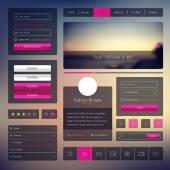 Vector set of web elements in flat style. Trendy website design. UI kit with icons and modern blurred background. — Stock Vector