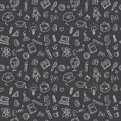 Vector hand drawn study accessories seamless pattern. Cute back to school black and white background — Stock Vector