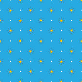 Vector yellow stars with rays seamless pattern. Stars background in cartoon style — Stock Vector