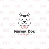 Vector cartoon style pet shop logo. Hand drawn doodle dog head logotype. — Stock Vector