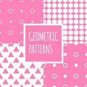 Vector geometric pink seamless patterns set. Baby shower girl backgrounds — Stock Vector