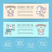 Vector baby goods sale posters. Kids store discount banners. — Stock Vector