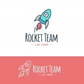 Vector cartoon style rocket logo. Hand drawn doodle start up logotype. — Stock Vector