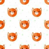 Vector flat cartoon fox heads seamless pattern. Animal background. — Stock Vector