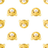 Vector flat cartoon tiger heads seamless pattern. Animal background. — Stock Vector