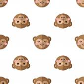 Vector flat cartoon monkey seamless pattern. Chimps background. — Stock Vector
