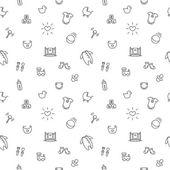 Vector baby or pregnancy seamless pattern. Newborn black and white background — Stock Vector