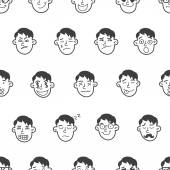Vector cute doodle boy heads seamless pattern. Emoticons background. — Stock Vector