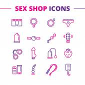 Vector sex shop icons set. Trendy two color line style love symbols — Stock Vector