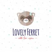 Vector cartoon ferret head logo. Flat logotype. — Stock Vector