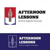 Vector english courses logo concept with big ben and open book. — Stock Vector
