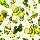 Bel modello con bottiglie e cactus — Vettoriale Stock