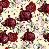 Seamless pattern with bright colorful image of a pomegranate — Vecteur