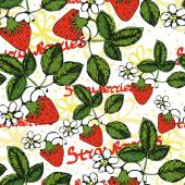Seamless pattern with an image of strawberry leaves, flowers and  fruits — Stock Vector