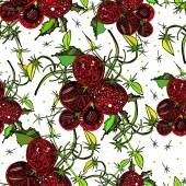 Seamless pattern with bright colorful image of brushes cherry tomato — Vecteur