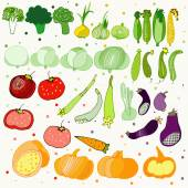 Illustrations with funny vegetables icons — Stock Vector