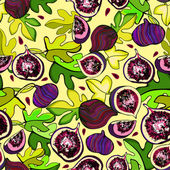 Seamless colorful pattern with the image of fruit figs — Stock Vector