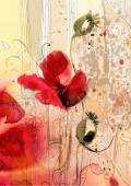 Watercolor illustrations of poppies — Stock Vector