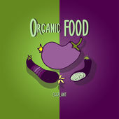 Organic food. Eggplant. — Stock Vector
