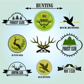 Hunting club label collecton. Vector. — Stock Vector