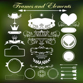 Set of vintage style elements and frames. Hand drawing. — Stock Vector
