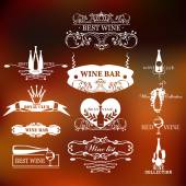 Set of vintage style elements for labels and badges for wine, vineyard, wine club and restaurant — Vector de stock