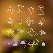 Illustrations with icons of ecology, environment, green energy and pollution — Stock Vector